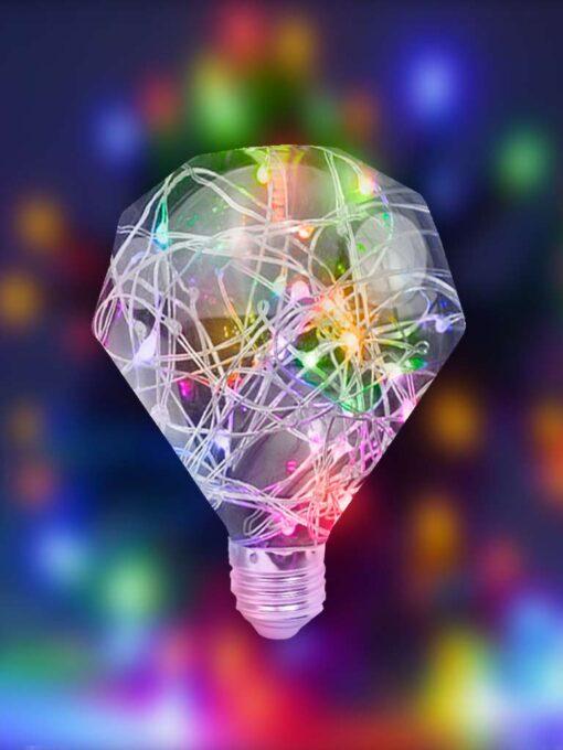 Foco de hilo led forma diamante multicolor
