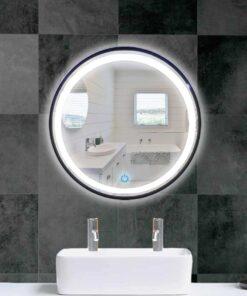Espejo LED touch redondo marco negro 60cm