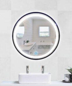 Espejo LED touch redondo marco negro 70cm