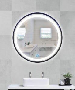 Espejo LED touch redondo marco negro 80cm