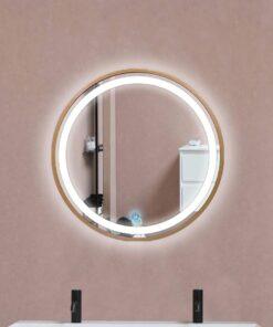 Espejo LED touch redondo marco dorado 60cm