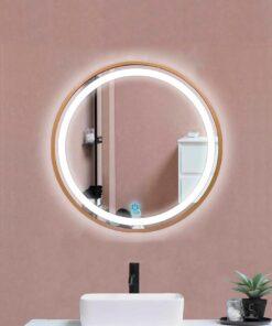 Espejo LED touch redondo marco dorado 80cm