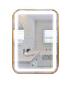 Espejo LED touch rectangular marco dorado 70cm