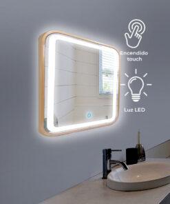 Espejo LED touch rectangular marco dorado 80cm