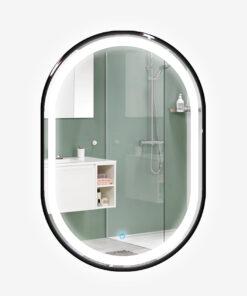 Espejo LED touch oval marco negro 80cm