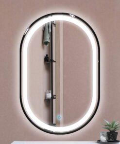 Espejo LED touch oval marco negro 90cm