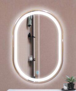 Espejo LED touch oval marco dorado 80cm