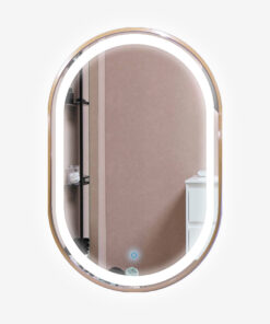 Espejo LED touch oval marco dorado 90cm