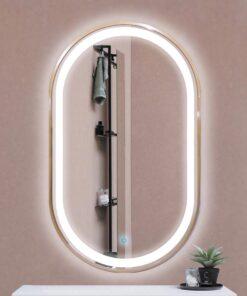 Espejo LED touch oval marco dorado 100cm
