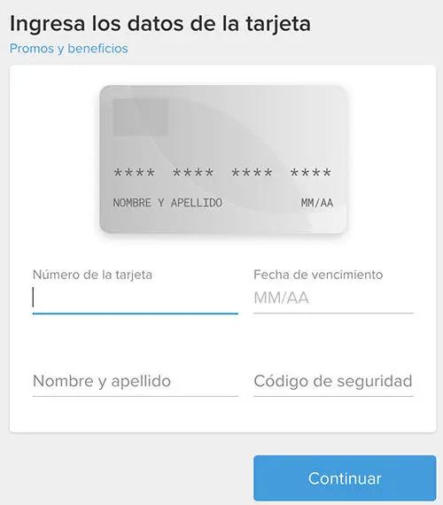 datos tarjeta de pago
