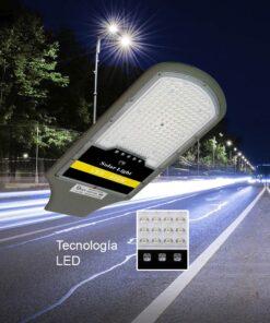 Luminaria urbana solar de 200 watts de potencia + panel solar + control remoto.